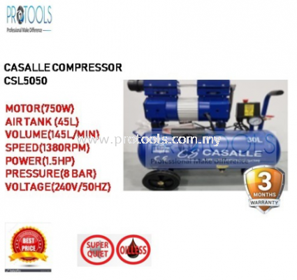 CASALLE AIR COMPRESSOR CSL5050 - OILESS - SILENT COMPRESSOR - 3 MONTH WARRANTY