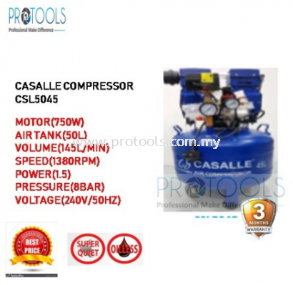 CASALLE AIR COMPRESSOR CSL5045 - OILESS - SILENT COMPRESSOR - 3 MONTH WARRANTY