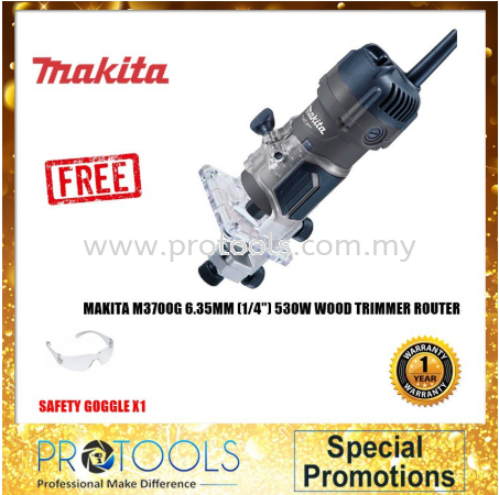 "MAKITA M3700G 6.35MM (1/4"") 530W MAKITA WOOD TRIMMER 12 MONTH WARRANTY"