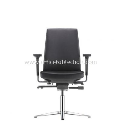 CLOVER EXECUTIVE VISITOR LEATHER CHAIR C/W ARMREST WITH ALUMINIUM BASE ACV 6113L