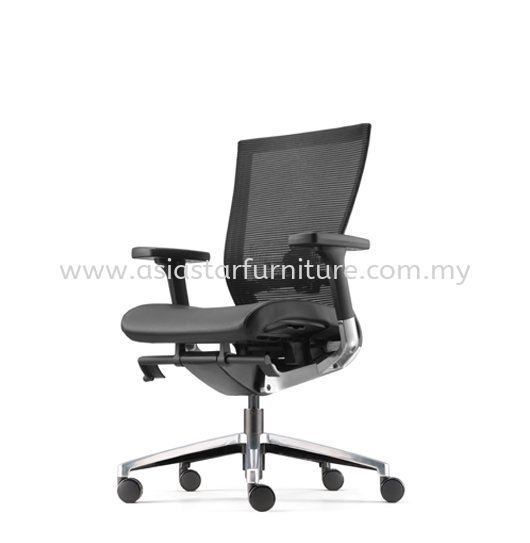 MAXIM MEDIUM BACK MESH CHAIR C/W ALUMINIUM DIE CASE BASE (LEATHER) AMX 8111L