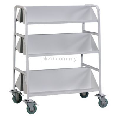 Double Sided Book Trolley - 6 Slanting Shelves (G2-LBEM-2)
