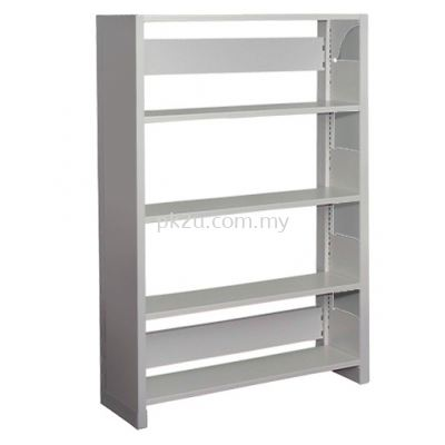 Single Sided Library Shelving With Steel End Panel - 4 Shelves (A1-SSLS-4L-SP)