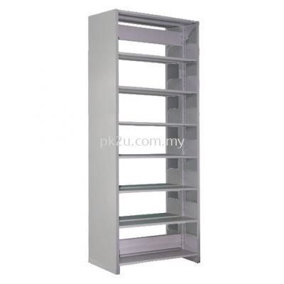 Double Sided Library Shelving With Steel End Panel - 14 Shelves (A1-DSLS-7L-SP)