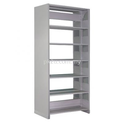 Double Sided Library Shelving With Steel End Panel - 12 Shelves (G1-DSLS-6L-SP)