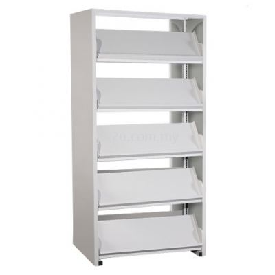 Double Sided Library Magazine Rack - 10 Shelves (G2-DSLM-5L-OP)