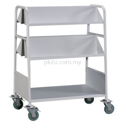 Double Sided Book Trolley - 4 Slanting & 1 Flat Shelves (A1-LBEM-3)