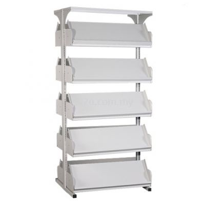 Double Sided Library Magazine Rack - 5 Shelves (G2-DSLM-5L-OP)