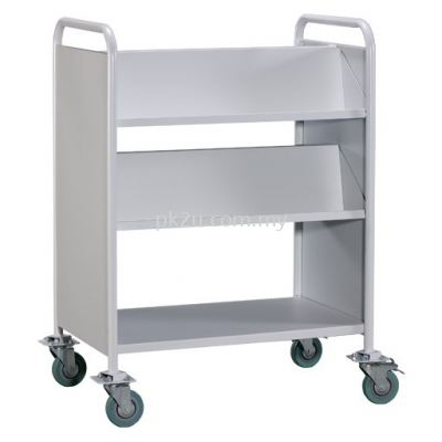 Double Sided Book Trolley C/W Steel End Panel - 4 Slanting & 1 Flat Shelves (G2-LBEM-3)
