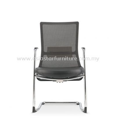 ROYSES VISITOR MESH BACK CHAIR ARMREST C/W CHROME CANTILEVER BASE (LEATHER) ARC 8513L