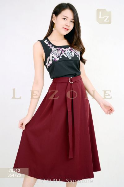 354723 Belted Pleat Midi Skirt