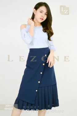 655225 BUTTON PLEATED MIDI SKIRT 【1ST 10% 2ND 15% 3RD 20%】