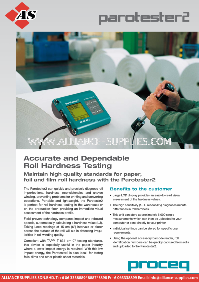 4.2.2 PROCEQ Parotester2-Roll Hardness Testing (Obsolete)