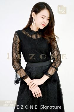 20396 BENNYPHIL LACE OVERLAY BLOUSE 【1ST 10% 2ND 15% 3RD 20%】
