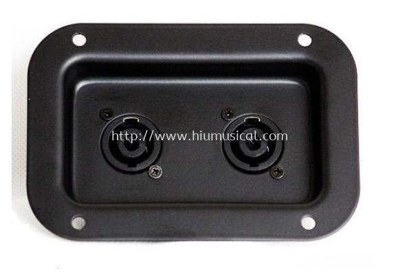 Recessed Connector Dish with 2 Neutrik NL2MP 2 Pole Speakon Connectors (Black)