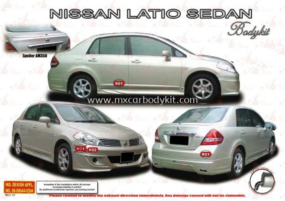 NISSAN LATIO SEDAN AM STYLE BODYKIT + SPOILER