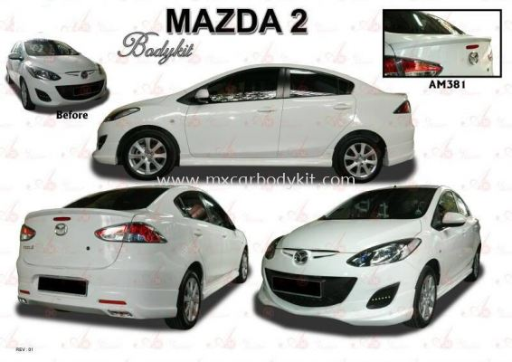 MAZDA 2 SEDAN AM STYLE BODYKIT + SPOILER