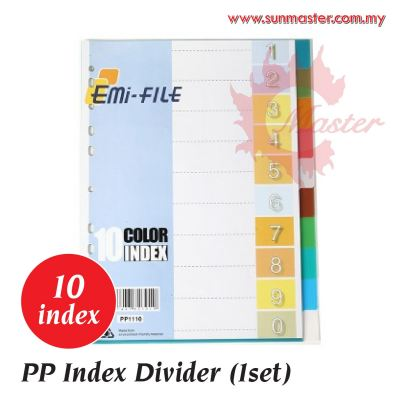 PP Index Divider (10 Tabs 1 Sets) - Color