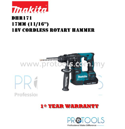 MAKITA DHR171Z 17mm (11/16″) �C 18V Cordless Rotary Hammer BARE UNIT