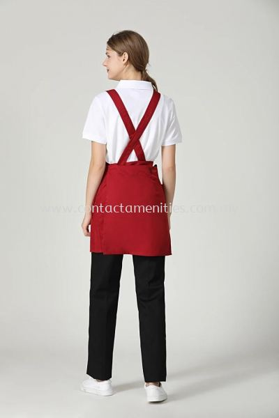 Maroon Red Service Apron (Back)