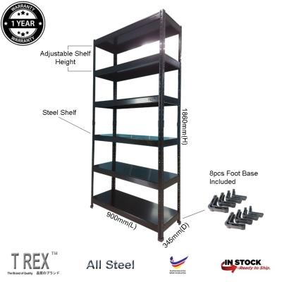 T Rex Standard 6 Tier Steel Boltless Storage Rack Organizer Rack (Black)