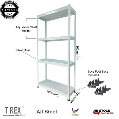 T Rex Standard 4 Tier Steel Boltless Storage Rack (White)
