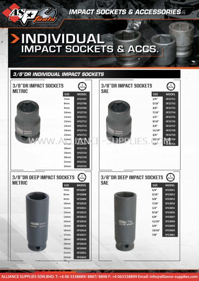 """SP Individual 3/8"""" Impact Sockets & Accessories"""