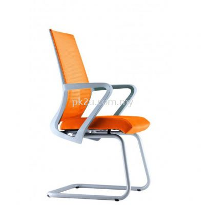 PK-BCMC-13-V-C1-Angle Visitor Mesh Chair with Grey Cantilever & Armrest