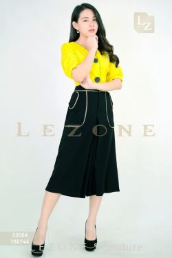 768744 CONTRAST POCKET CULOTTES 【1ST 10% 2ND 15% 3RD 20%】