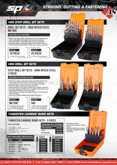 SP HSS Drill Bit Sets / HSS Step Drill Bit Sets / Carbide Burrs