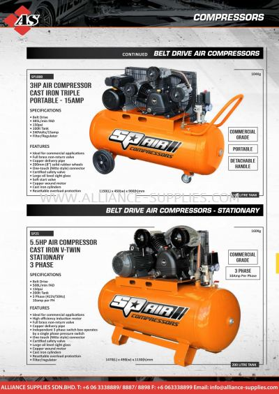SP BELT Drive Air Compressors - 3 Phase