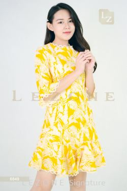 6849 PRINTED FLORAL DRESS 【1ST 10% 2ND 15% 3RD 20%】