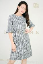 78528 PLAID BELL SLEEVE DRESS