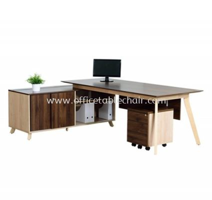 EXECUTIVE TABLE C/W SIDE CABINET PX1 2190(L)