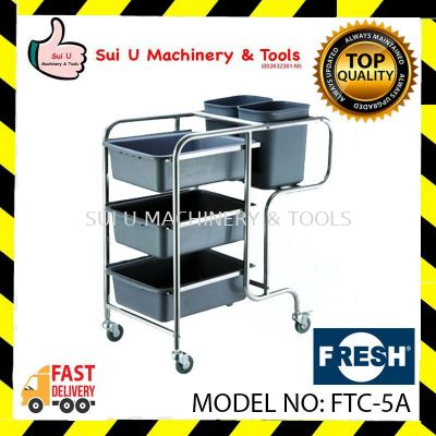 FRESH FTC-5A Dishes Collecting Cart 3 Layer Tray Thickness 0.05cm Wheel PVC with Stopper