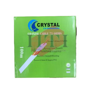 CRYSTAL RG6 CATV COAXIAL CABLE 100M