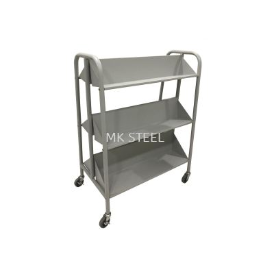 DOUBLE SIDED BOOK TROLLEY WITH 6 SLANTED SHELVES