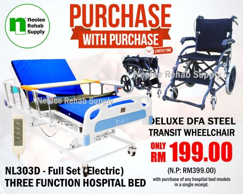 PWP - NL303D [Full Set] Hospital Bed 3 Function (Electric)