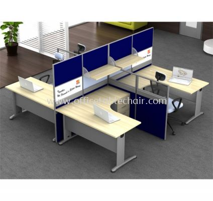 L-SHAPE CLUSTER OF 4 WORKSTATION
