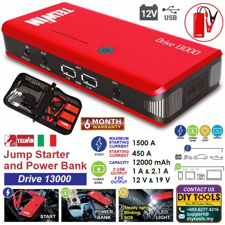 """TELWIN Portable Jump Starter and Power Bank """"Drive 13000"""""""