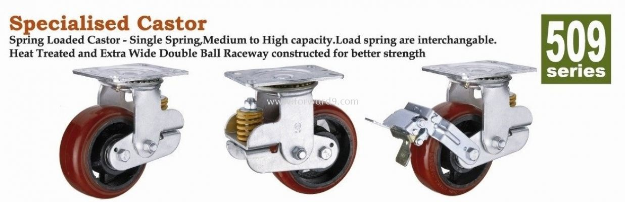 509 Series Top Plate Polyurethane Spring Loaded Castor Wheel