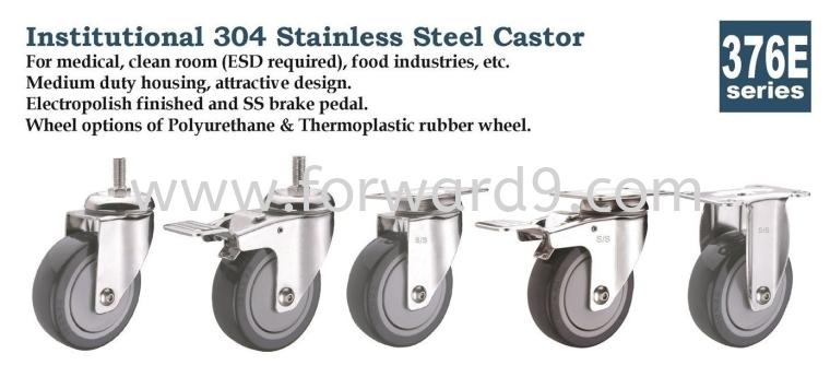 376E Series Bolt Hole Polyurethane Stainless Steel Castor Wheel Stainless Steel Castor  Castors Wheel