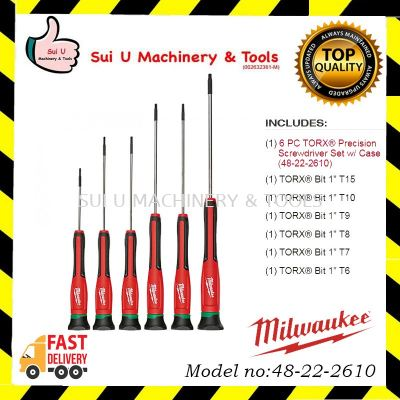 MILWAUKEE 48-22-2610 6 PC TORX® Precision Screwdriver Set w/ Case