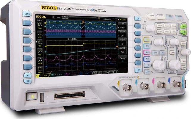 Rigol DS1104Z-S Plus 100 MHz Digital Oscilloscope with 4 Channels and 16 Digital Channels + 25 MHz B