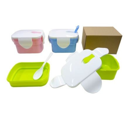 2-Tier Rectangular Lunch Box with spoon (0.8L)