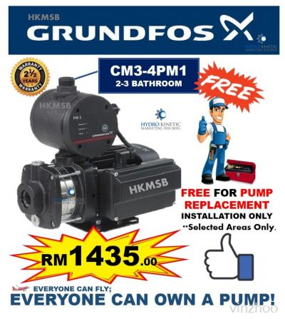 Grundfos CM3-4PM1 (0.67HP) FREE PUMP REPLACEMENT INSTALLATION SERVICE IN KL & KLG AREAS ONLY.