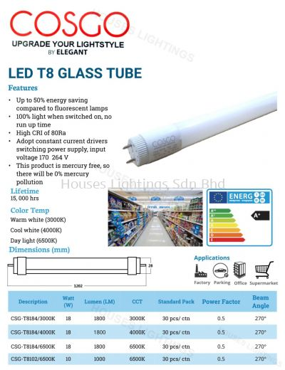 COSGO LED T8 2FT 10W 4FT 18W