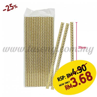 Paper Straw ZigZag - Gold (P-SAW-9002GO)