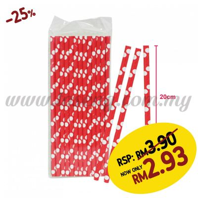 Paper Straw Polka Dot - Red (P-SAW-9003R)