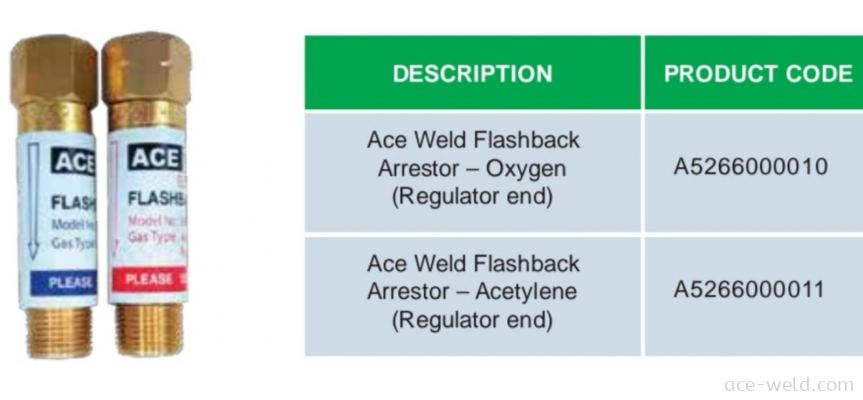 ACE WELD OXYGEN / ACETYLENE FLASHBACK ARRESTOR (REGULATOR END)